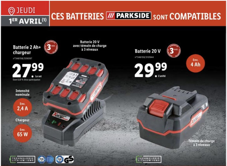 Batterie Parkside - 20 V, 4 Ah