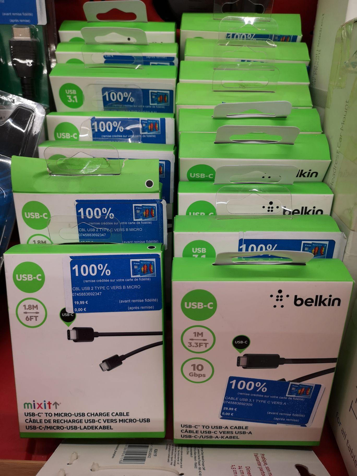Sélection de produits 100% remboursés - Ex: Câble USB C > micro USB Belkin 1m (via 19.99€ sur le compte fidélité) - Nîmes Ouest (30)