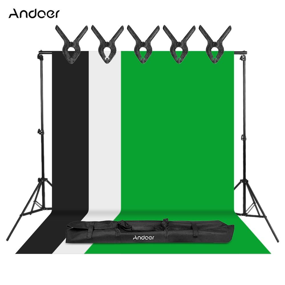 Kit de photographie studio Andoer : 3 Toiles de fond (Noir, Blanc & Vert - 1.6x4m) + Support en métal (2x3m) + 5 Pinces + Sac (Entrepôt EU)