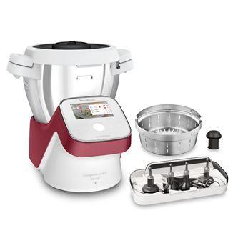Robot cuiseur multifonction Moulinex I-Companion Touch XL HF934510 - 1550 W, blanc/rouge (+ 55€ en Rakuten Points) - Boulanger