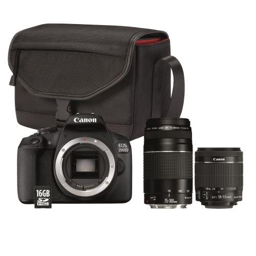 Appareil photo Canon EOS 2000D + Objectif EF-S 18-55 IS II + Objectif EF 75-300 F/4-5,6 III + Sac + Carte SD 16 Go
