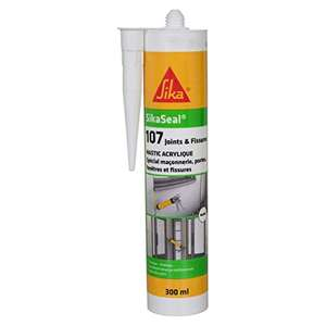 Cartouche de mastic acrylique Sika SikaSeal 107 Joints & Fissures - 300 ml