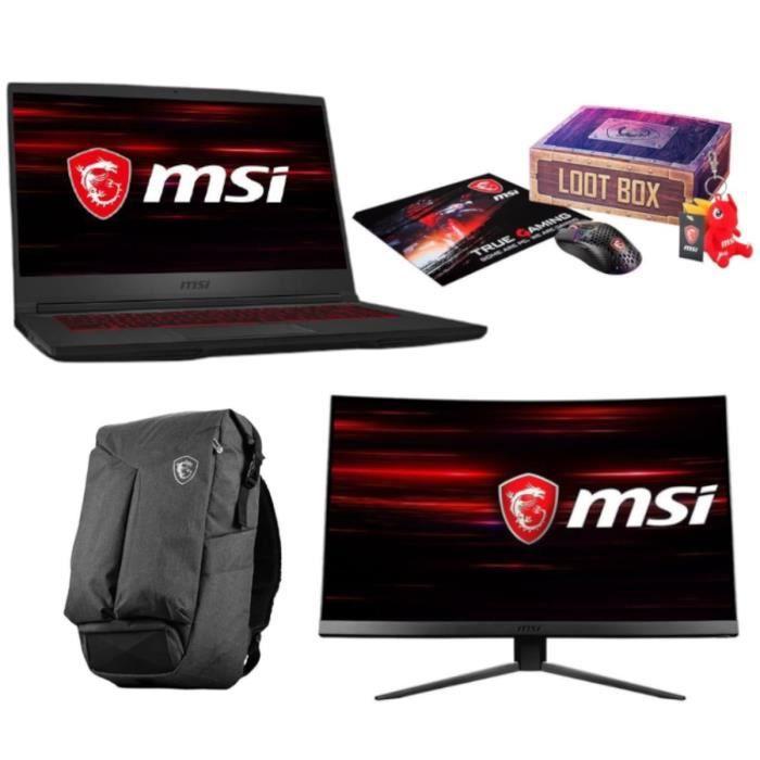 "PC Portable 15.6"" MSI GF65 Thin 9SEXR-693FR (144Hz, i7-9750H, RAM 8Go, SSD 512Go, RTX 2060) + Ecran PC 23.6"" MAG241C (144 Hz) + Accessoires"