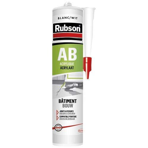 Cartouche de mastic Rubson AB acrylique bâtiment joints et fissures - 280ml