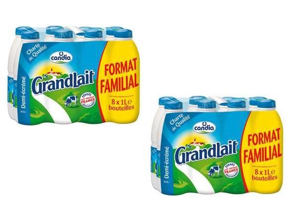 2 Packs de 8 bouteilles de lait Candia GrandLait Demi-Ecrémé (16 x 1L)