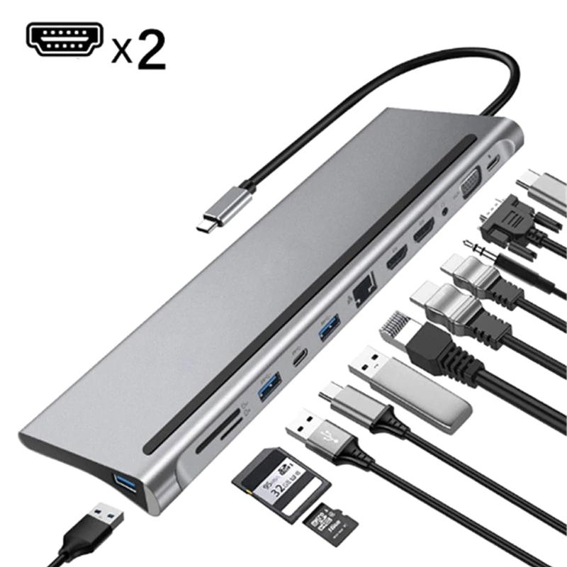 Station d'accueil 12 en 1 Type-C - HDMI 4K, Rj45 , USB 3.0, Lecteur Carte Mémoire, PD 87W
