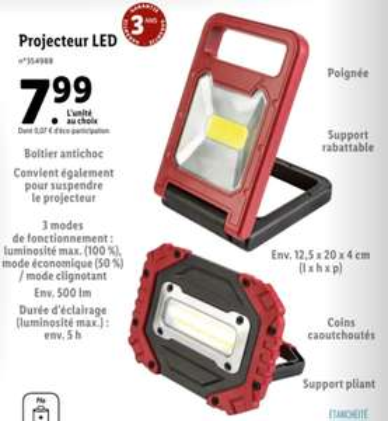 Projecteur LED à piles Parkside - 500lm
