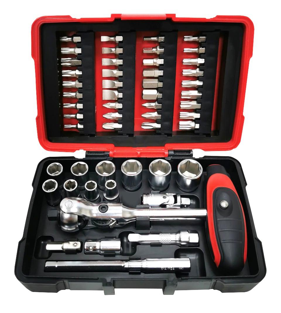 Coffret de douilles, embouts et clé à cliquet réversible articulée Ks Tools Ultimate 1/4'' - 52 pièces