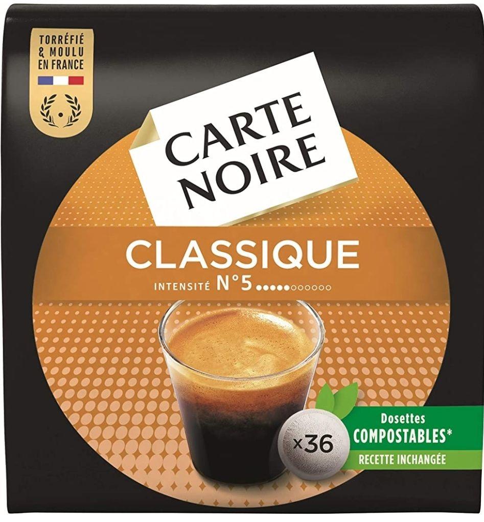 Lot de 10 paquets de 36 dosettes de café Carte Noire Classique Intensité n°5 - 360 dosettes
