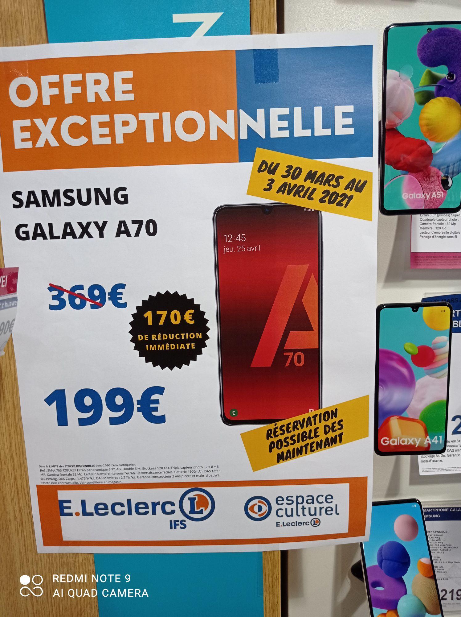 """Smartphone 6.7"""" Samsung Galaxy A70 (full HD+, SnapDragon 675, 6 Go de RAM, 128 Go, noir) - Ifs (14)"""