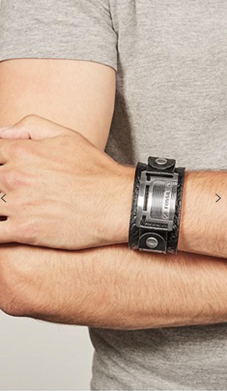 Bracelet manchette en cuir noir Fossil JF84816040 Homme