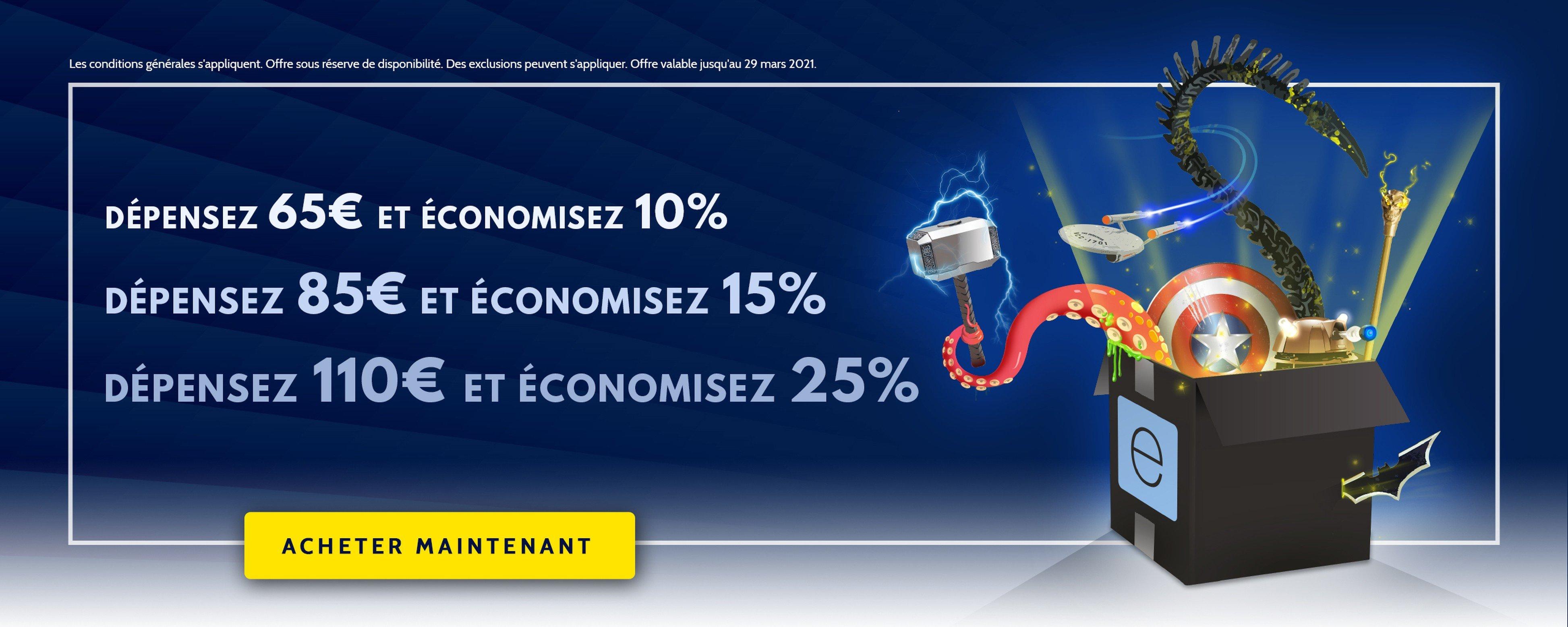 10% de réduction dès 65€ d'achat sur tout le site, 15% dès 85 € d'achat et 25% dès 110€ d'achat