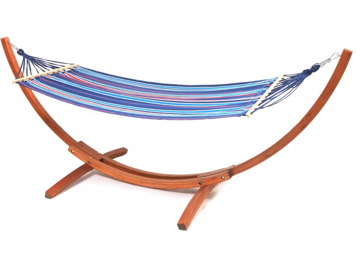 Hamac bois avec toile en coton Dallas - 3m, Bleu mélangé