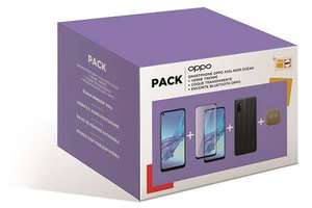 "Pack Smartphone 6.5"" Oppo A53s (128 Go) + Coque de protection transparente + Verre Trempé + Enceinte sans fil Oppo (Or)"