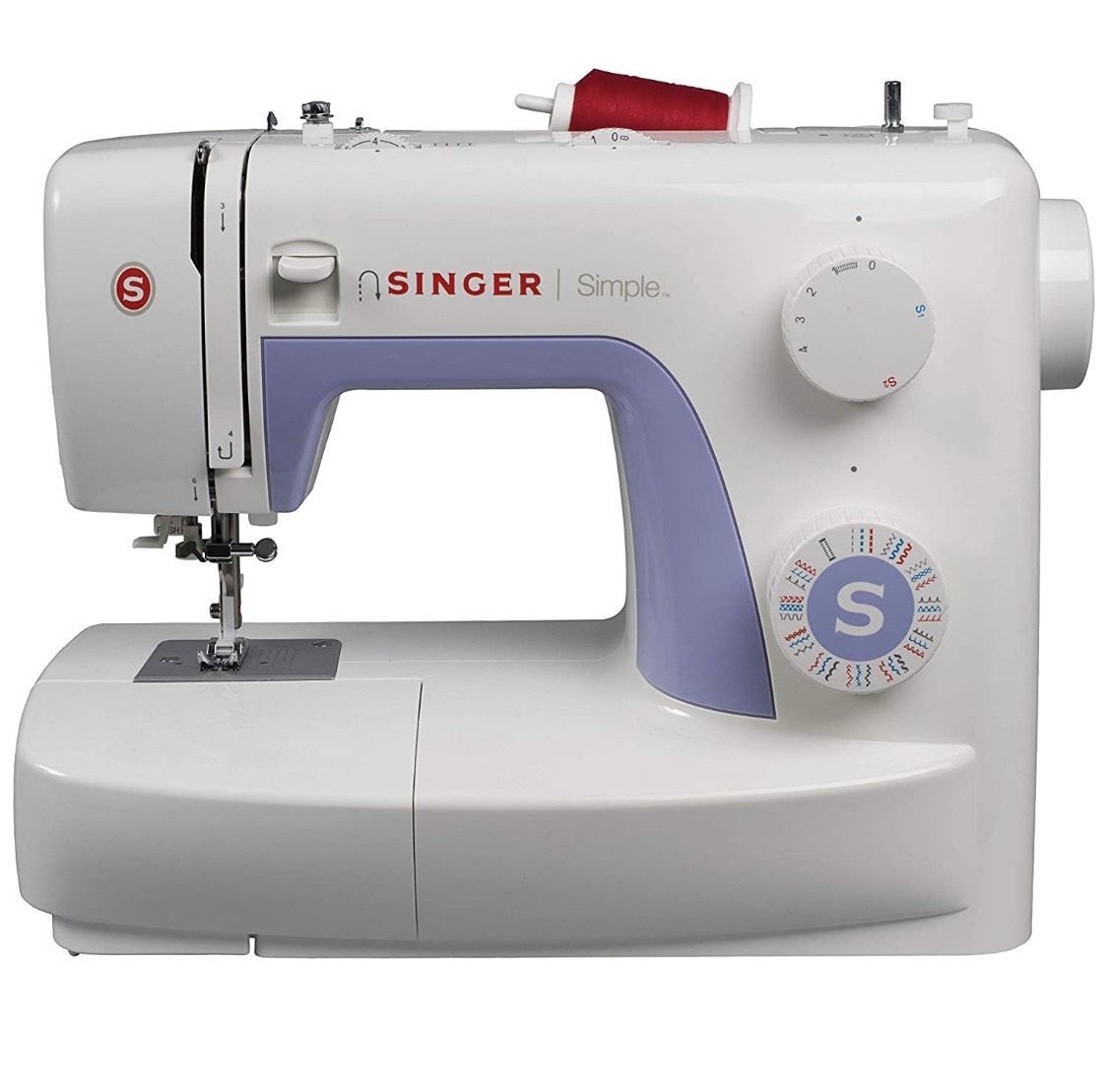 Machine à Coudre Singer Simple 3232 - Blanche/Mauve, 32 Points Ajustables