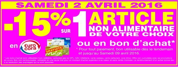 15% offerts en EuroCora ou en bon d'achat sur 1 article non alimentaire