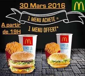 A partir de 19h : 1 menu Maxi Best Of acheté = 1 menu Maxi Best Of au choix offert