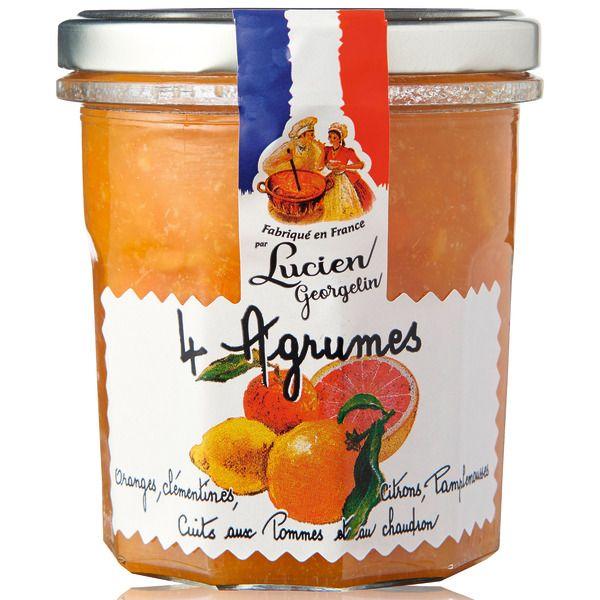 Lot de 3 pots de confiture cuite au chaudron Lucien Georgelin (4 Agrumes, Abricot, Fraise ou Figue rouge) - 3x320g