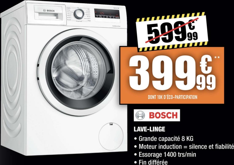 Sélection d'articles en promotion - Ex : lave-linge Bosch (8 kg, 1400 trs/min) - MDA Électroménager