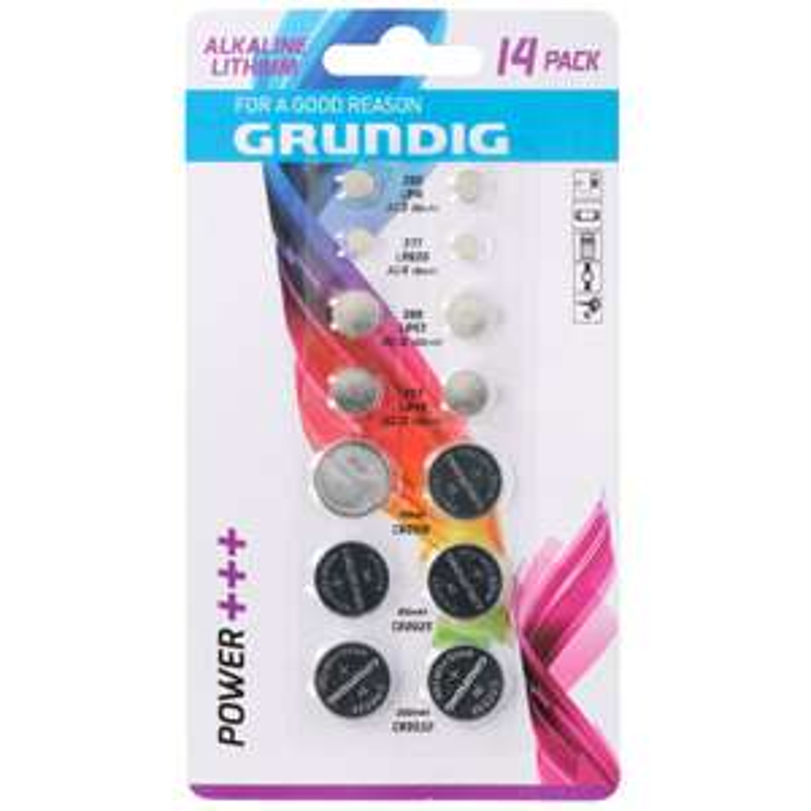 Sélection de piles Alcalines Grundig - Ex : Lot de 14 piles plates