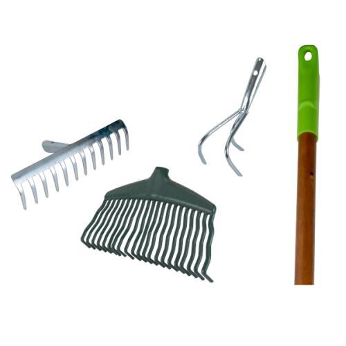 Ensemble d'Outils de jardinage : Manche, râteau de jardin, râteau à gazon, grattoir, binette, griffe ou serfouette à 3 dents