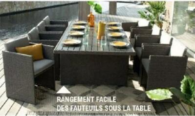 Ensemble de jardin Beaux Jours - table (213x103 cm) + 8 fauteuils en résine tressée (via 50€ sur la carte de fidélité)
