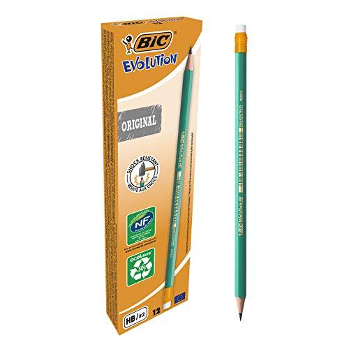 Boîte de 12 Crayons à papier HB BIC Ecriture Evolution Original avec gomme intégrée