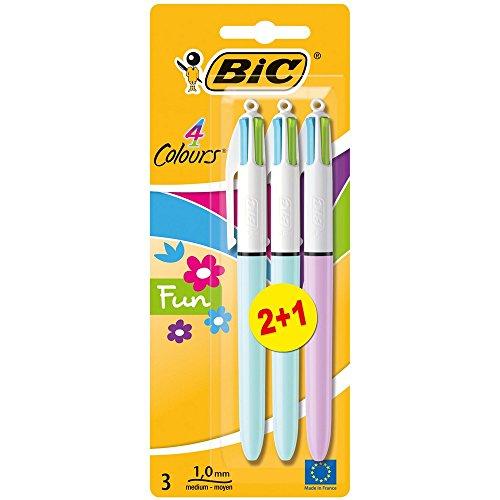 Lot de 3 stylos BIC 4 Couleurs Fun Stylos - Bille Rétractable, Pointe Moyenne (1,0 mm)
