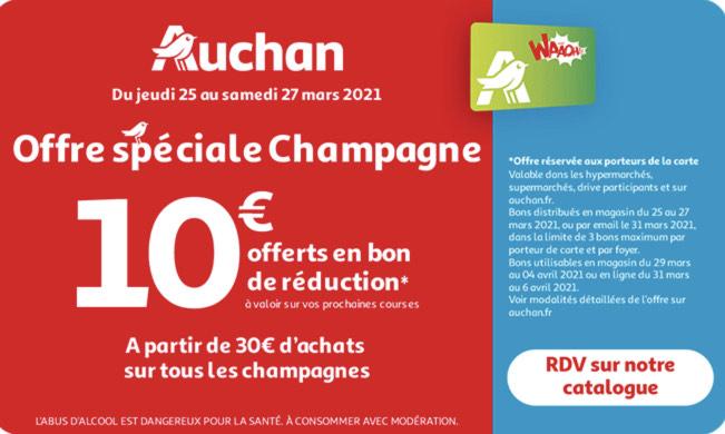 [Carte fidélité] 10€ en bon de réduction tous les 30€ d'achats sur les Champagnes (3 bons max.)