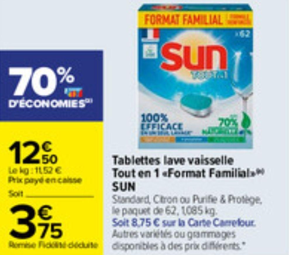 Lot de 62 Tablettes lave-vaisselle Sun Tout en 1 Format Familial - Diverses variétés (via 8.75€ sur la carte fidélité)