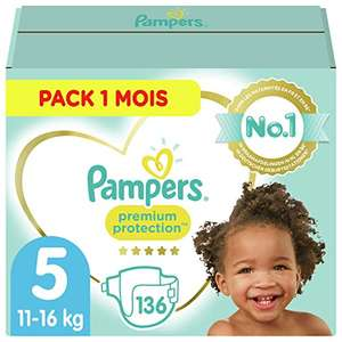 Pack de 136 Couches Pampers Premium Protection peaux sensibles - Taille 5 (11-16kg), 1 Mois