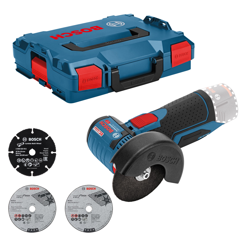 Meuleuse d'angle sans fil Bosch Professional GWS 12V -76 (sans chargeur ni batterie) + Coffret L-Boxx + 3 disques