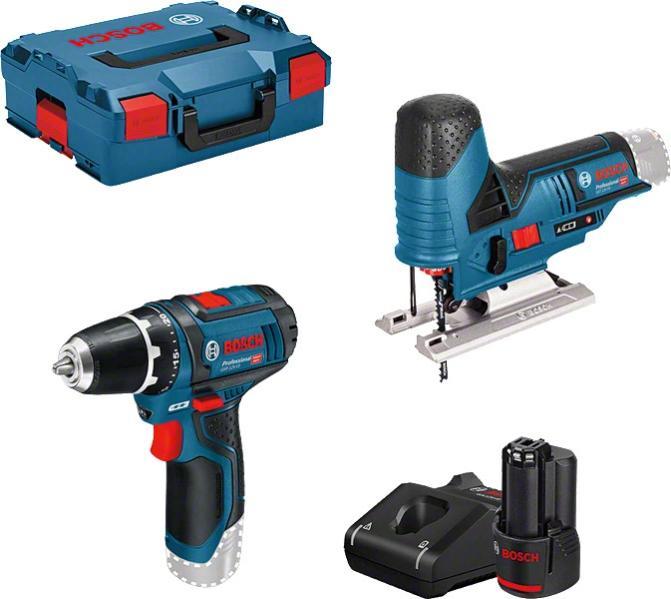 Pack de 2 outils sans fil Bosch Professional: Perceuse GSR 12V-15 + scie sauteuse GST 12V-70 + 2 x batteries 12V 2 Ah + chargeur + L-Boxx
