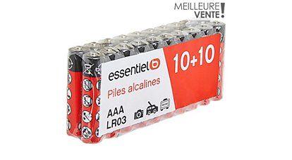 Pack de 20 piles EssentielB - LR03 / AAA