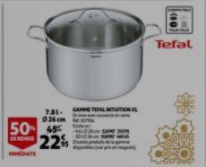 Marmite Inox Tefal Intuition XL - Couvercle en verre, 7.8L, Tous feux dont induction, 26 cm