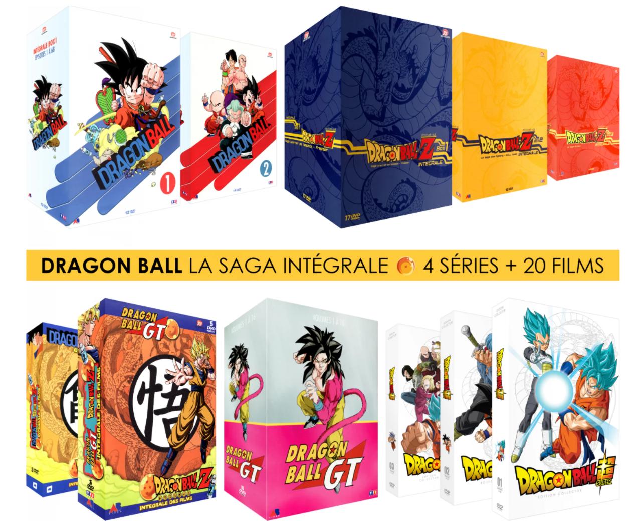 Pack 10 Coffrets DVD : Dragon Ball Z + Dragon Ball + Dragon Ball GT + Dragon Ball Super + 20 Films & OAV - Intégrale Collector (Non censuré)