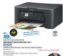 Imprimante multifonction 4 en 1 Epson Workforce WF-2810 - Wi-Fi, Recto Verso, Noir