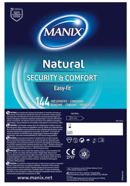 Boite de 144 préservatifs Manix Natural Security & Comfort