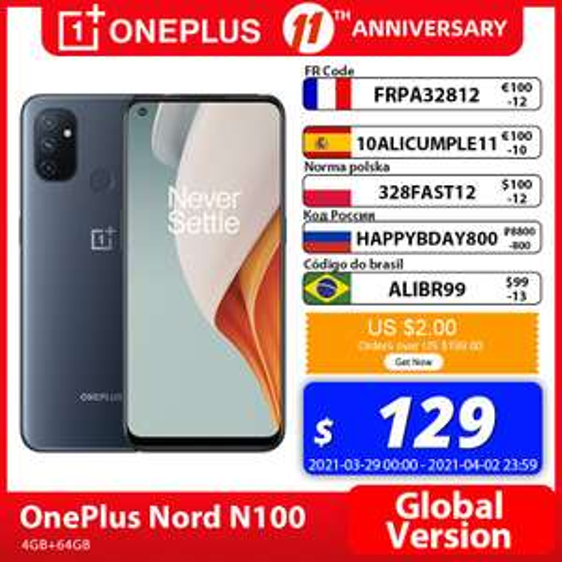 "Smartphone 6.52"" OnePlus Nord N100 - Snapdragon 460, 4 Go de Ram, 64 Go, 5000mAh, Dual-SIM (105.76 € via SUPER32815)"