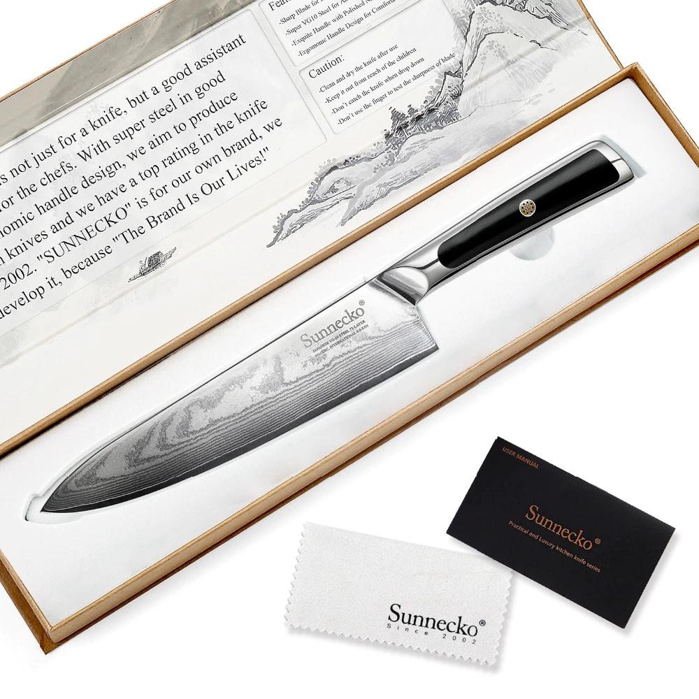 Couteau japonais professionnel en acier de Damas, manche G10 Sunnecko
