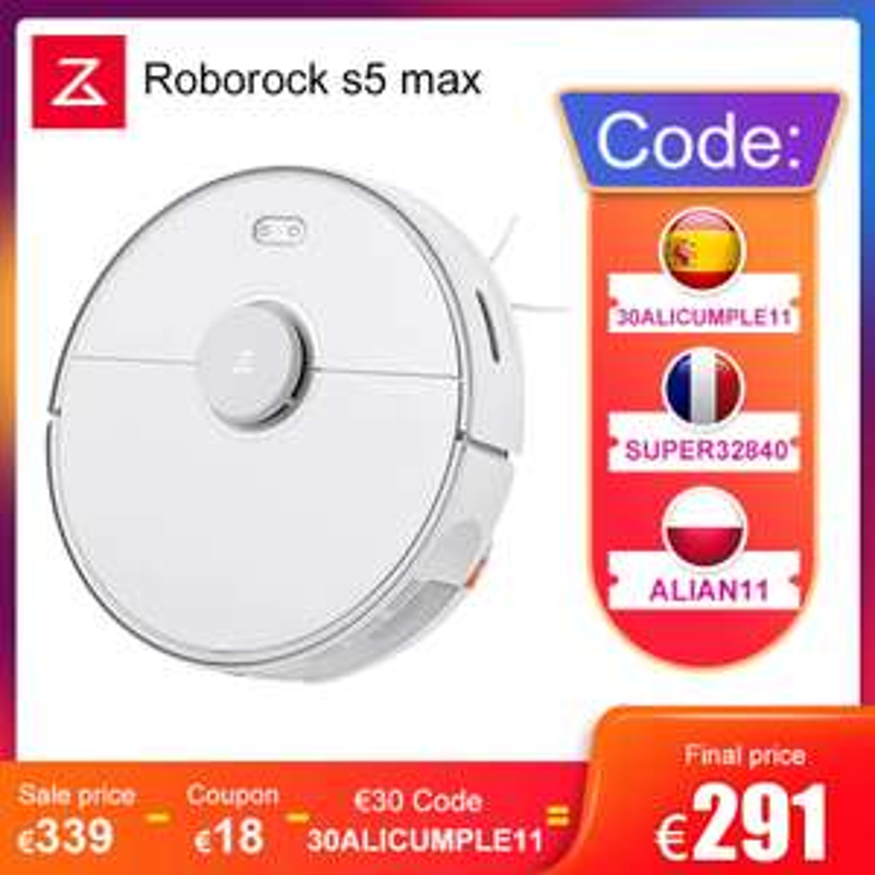 Aspirateur robot Roborock S5 Max - entrepôt Espagne (281.42€ via SUPER32840)