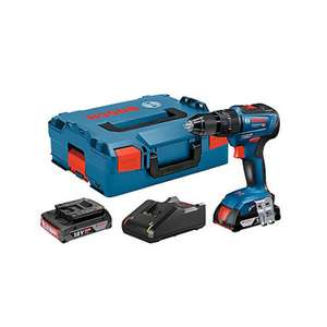Perceuse à percussion brushless Bosch GSB18V-55 18V + 2 batteries Li-Ion 2 Ah + chargeur rapide + coffret