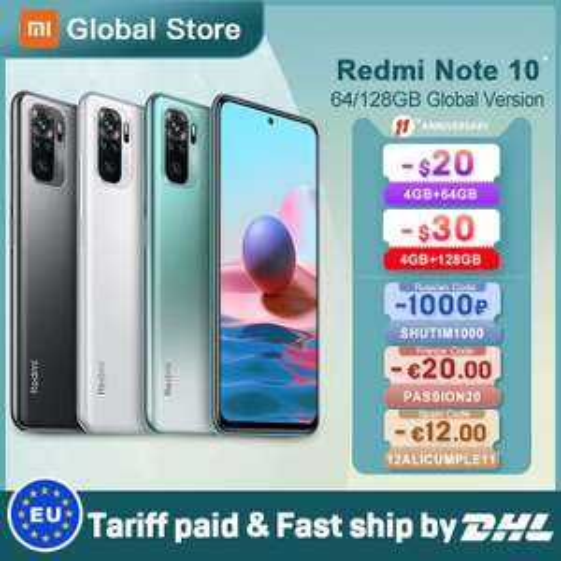 "Smartphone 6.43"" Xiaomi Redmi Note 10 - Full HD+, Snapdragon 678, 6 Go de RAM, 128 Go de stockage (158.96€ via PASSION20)"