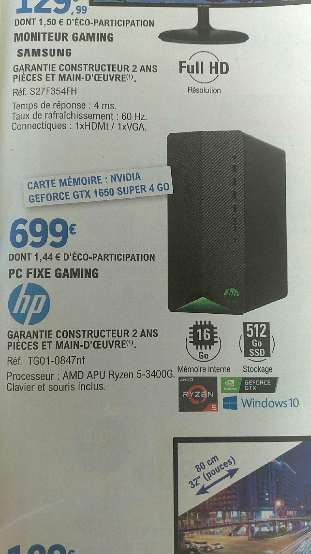 PC fixe gaming HP TG01-0847nf - Ryzen 5-3400G, 16Go de Ram, SSD 512Go - Gouesnou (29)