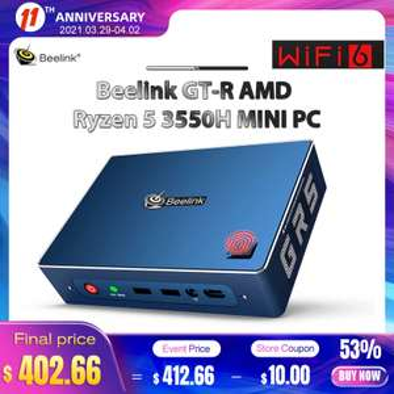 Mini-PC Beelink GTR - Ryzen 5 3550H, Radeon Vega 8, 8 Go de RAM, 1 To + 256 Go, Windows 10