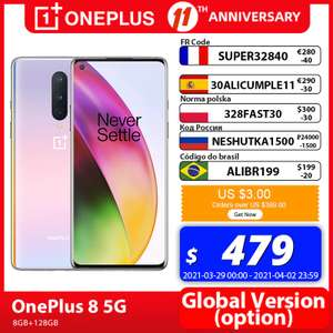 "Smartphone 6.55"" OnePlus 8 5G - full HD+, SnapDragon 865, 8 Go de RAM, 128 Go, version CN, violet (373.55€ via SUPER32840)"