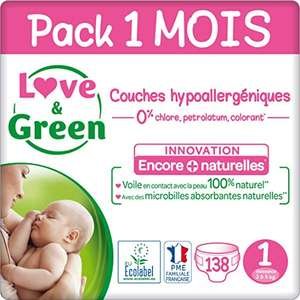 Pack de 138 Couches Love & Green - Taille 1 (2-5 Kg)