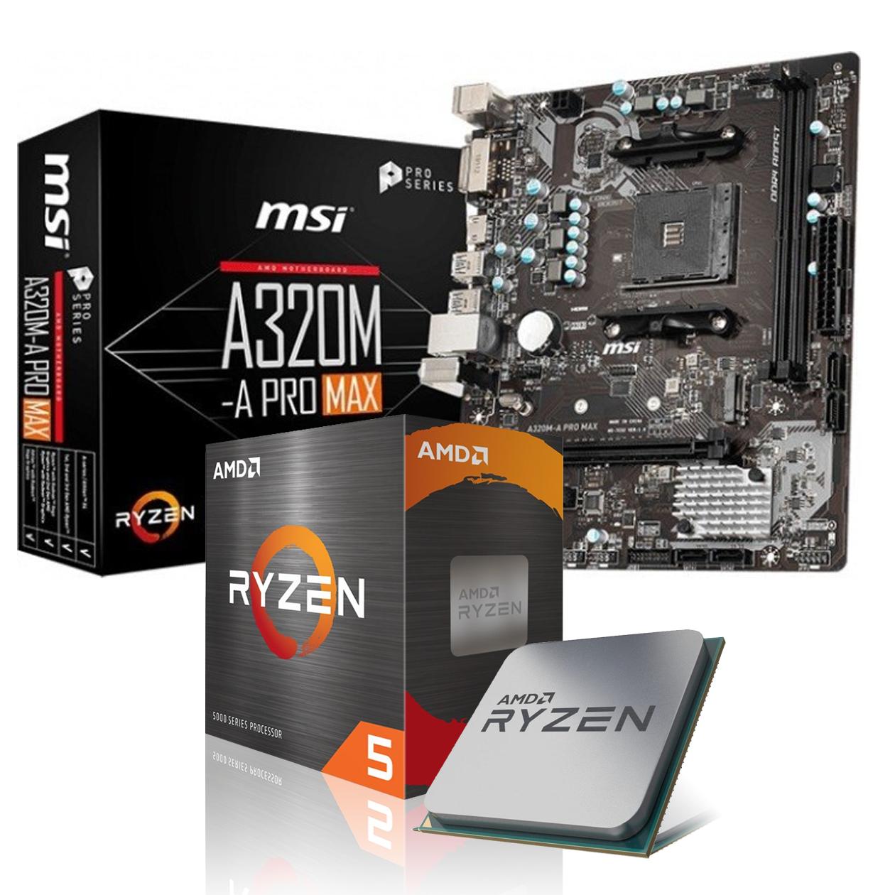 Carte mère MSI A320M-A Pro Max + Processeur AMD Ryzen 5 3600