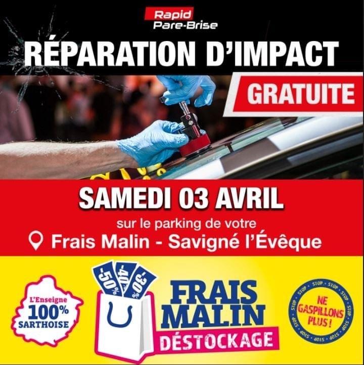 Réparation d'impact de pare-brise gratuite - Frais Malin Savigné l'Évêque (72)
