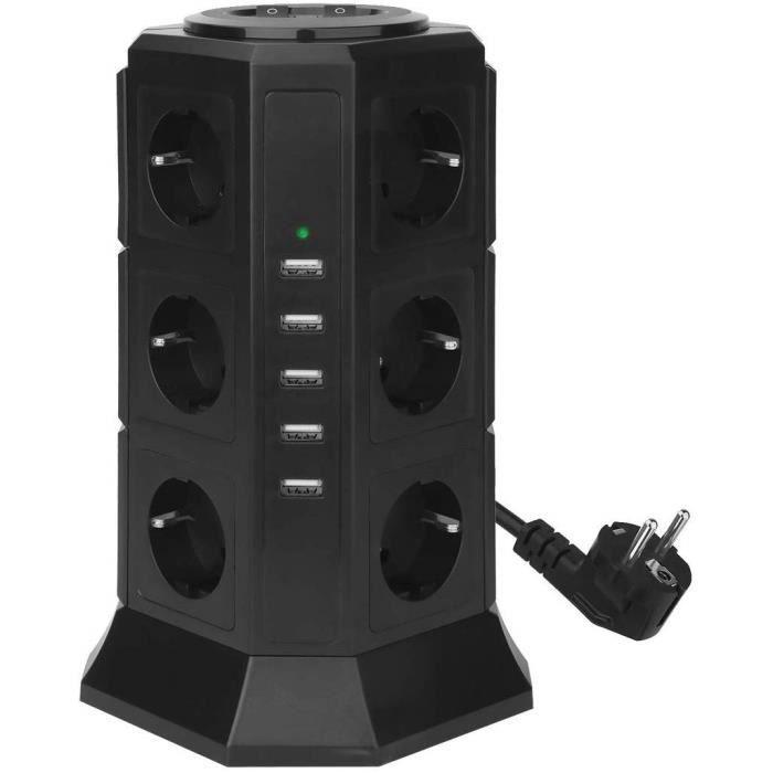 Multiprise verticale - 12 prises, 5 USB, Câble 2 m, Noir (Vendeur tiers)